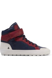 Isabel Marant Bessy Hip Hop Suede Trimmed Leather High Top Sneakers Midnight Blue
