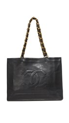 Wgaca Chanel Chain Tote Previously Owned Black