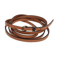 Lowie Tan Double Wrap Skinny Belt With Black Edging