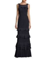 Kay Unger Crochet Lace Gown Navy
