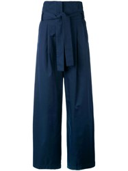 Erika Cavallini High Waisted Trousers Women Cotton 40 Blue