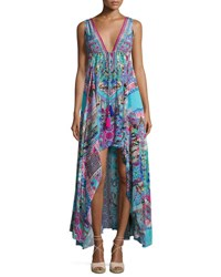 Camilla Embellished Crepe V Neck Drawstring Maxi Dress Turquoise Pink Multi