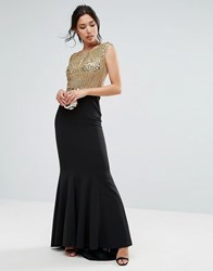Forever Unique Embelished Body Maxi Dress Gold Black