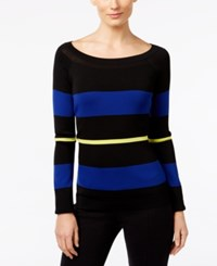 Inc International Concepts Striped Boat Neck Sweater Only At Macy's Deep Black