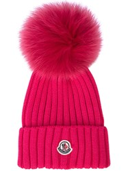 Moncler Ribbed Knit Hat Pink