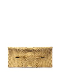 Tom Ford Metallic Python Evening Clutch Bag Gold