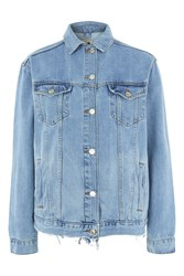 Topshop Tall Ripped Oversized Western Denim Jacket Mid Stone