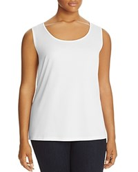 Lafayette 148 New York Plus Long Scoop Neck Tank White