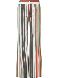 Chloe Striped Flared Trousers Green