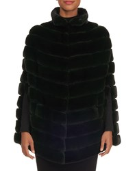 Zac Posen Quilted Mink Fur Cape Forest