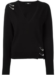 Versus Pins Detail V Neck Jumper Black