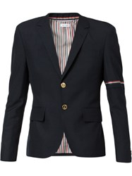 Thom Browne High Armhole Single Breasted Sport Coat With Red Blue