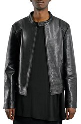 Men's Topman 'Aaa Collection' Black Leather Collarless Biker Jacket
