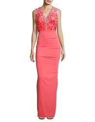 Nicole Bakti Sleeveless Column Gown Coral