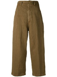 Aspesi Cropped Trousers Women Linen Flax 46 Brown
