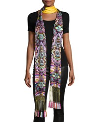 Roberto Cavalli Long Floral Silk Fringe Scarf Gold Multicolor