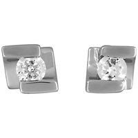 Jools By Jenny Brown Sterling Silver Offset Square Cubic Zirconia Stud Earrings