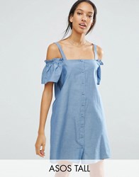 Asos Tall Cold Shoulder Button Through Sundress In Chambray Blue