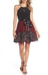 Blondie Nites Embroidered Fit And Flare Dress Black Wine