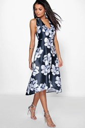 Boohoo Floral Sateen Halterneck Skater Dress Black