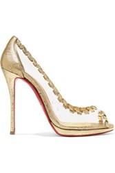 Christian Louboutin Hargaret 120 Pvc And Metallic Cracked Leather Pumps Gold Gbp