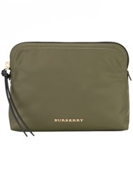 Burberry Large Zip Top Technical Pouch Green