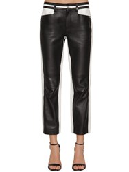 Karl Lagerfeld Cropped Bicolor Leather Pants Black White