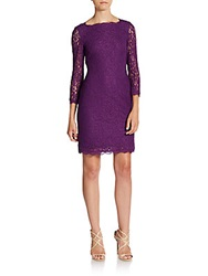 Adrianna Papell V Back Lace Dress Deep Orchid