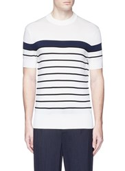 Neil Barrett Stripe Intarsia Short Sleeve Sweater White