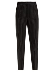 Dolce And Gabbana High Rise Pinstriped Wool Blend Trousers Navy White