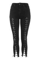 Topshop Tall Front Lace Jamie Jeans Black