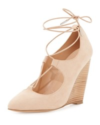 Charles By Charles David Ima Lace Up Wedge Pump Nude