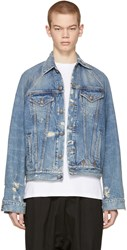 R 13 R13 Blue Denim Raglan Trucker Jacket