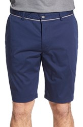 Men's Boss 'Clyde' Flat Front Stretch Cotton Shorts Navy