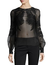 J. Mendel Sheer Floral Embroidered Blouse Black