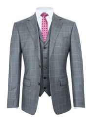 Paul Costelloe Men's Waltham Windowpane Wool Check Suit Grey