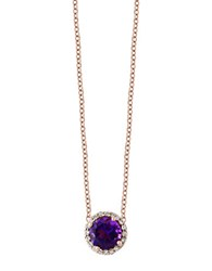 Effy Amethyst And Diamond 14K Rose Gold Pendant Necklace Purple