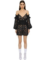 Francesco Scognamiglio Cut Out Shoulder Macrame Lace Dress