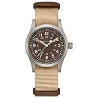 Hamilton H69429901 'S Khaki Field Automatic Date Nato Fabric Strap Watch Beige Dark Brown