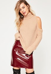 Missguided Pink Cold Shoulder Turtle Neck Slouchy Jumper