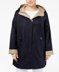 Jones New York Plus Size Hooded Raincoat Topside Navy Combo