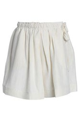 J.W.Anderson Woman Leather Paneled Linen And Silk Blend Shorts Off White Off White