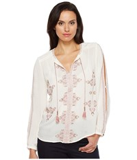 Lucky Brand Vintage Embroidered Peasant Top Eggshell Women's Long Sleeve Pullover Beige