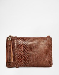 Urbancode Leather Faux Snake Clutch Bag With Optional Shoulder Strap