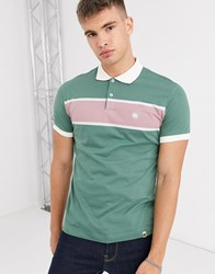 Pretty Green Colour Block Polo In And Pink Green