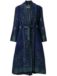 Alberta Ferretti Embroidered Tie Waist Coat Acrylic Polyester Other Fibres Blue