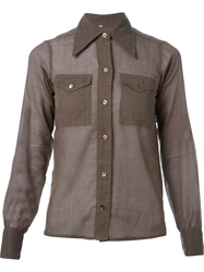 Yves Saint Laurent Vintage Pointed Collar Shirt Brown