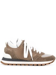 Brunello Cucinelli Low Top Lace Up Sneakers Brown