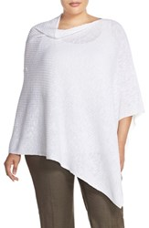 Plus Size Women's Eileen Fisher Organic Linen And Cotton Knit Poncho White