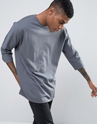 Asos Oversized Long Sleeve T Shirt In Heavyweight Jersey With 3 4 Raglan Sleeve Sting Ray Grey
